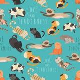 Família sem emenda do teste padrão dos gatos Imagens de Stock Royalty Free