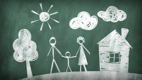 Família Tiragem em um quadro-negro ilustração royalty free