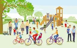 Famílias com as crianças no campo de jogos ilustração do vetor