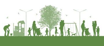 Famílias com as crianças no parc da cidade ilustração do vetor
