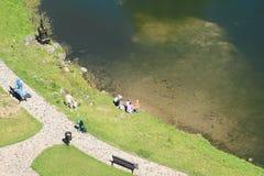 Famílias com as crianças que têm o resto pela lagoa foto de stock royalty free