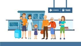 Famílias com crianças e bagagem no fundo da estação de trem ilustração stock