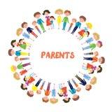 Famílias com fundo das crianças - circunde o projeto do quadro ilustração royalty free