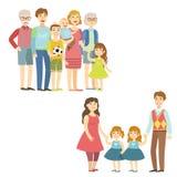 Famílias completas que levantam junto ilustração royalty free
