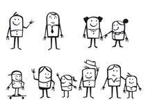 Famílias dos desenhos animados Fotos de Stock