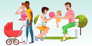 Famílias dos desenhos animados dos pares homogenderual que descansam junto ilustração royalty free