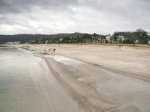 Famílias e amigos que passam o dia junto na praia imagem de stock royalty free