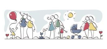Famílias engraçadas ilustração do vetor