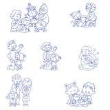 Famílias felizes ilustração royalty free