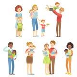 Famílias felizes com crianças pequenas ilustração do vetor