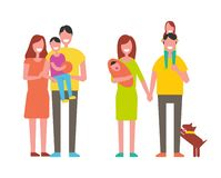 Famílias felizes grupo, ícone do vetor no estilo dos desenhos animados ilustração royalty free