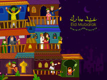 Famílias muçulmanas que desejam Eid Mubarak, Eid feliz na ramadã ilustração royalty free