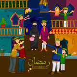 Famílias muçulmanas que desejam Eid Mubarak, Eid feliz na ramadã ilustração stock