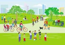 Famílias na atividade de lazer no parque, ilustração royalty free