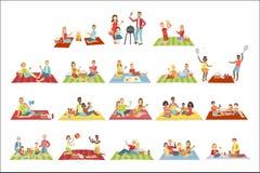 Famílias no piquenique fora ilustração do vetor