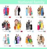 Famílias no traje nacional, ilustração do vetor Imagens de Stock