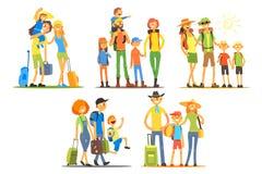 Famílias novas que vão em férias Viajantes com bagagem Pais com crian?as Recrea??o ativa do ver?o Vetor liso ilustração royalty free