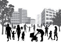 Famílias que andam na cidade. Estilo de vida, CCB urbano ilustração do vetor