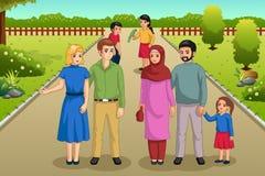Famílias que apreciam a ilustração do ar livre do parque ilustração royalty free