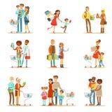 Famílias que compram no grupo do armazém e do shopping ilustração royalty free