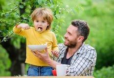 A fam?lia aprecia a refei??o caseiro Filho do pai para comer o alimento e ter o divertimento H?bitos da nutri??o Comer do rapaz p fotos de stock