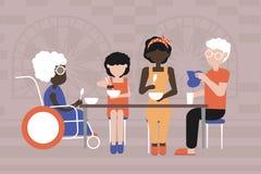 Fam?lia Multiracial Jantar no c?rculo de fam?lia ilustração stock