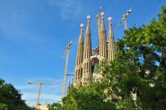 巴塞罗那fam lia整修sagrada西班牙 免版税库存照片