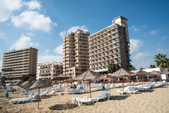 Famagusta  beach and abandoned hotels Cyprus Royalty Free Stock Images