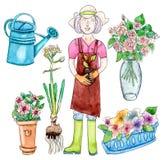 Famale-Gärtner und Gartensatz Stockfoto