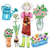 Famale gardener and garden set Stock Photo