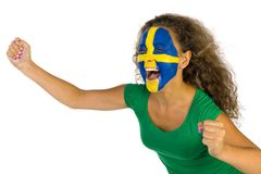 Famale Swedish sport's fan Stock Photography