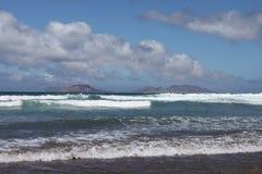 famara пляжа ветреное Стоковая Фотография RF