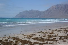 Famara beach, lanzarote, canarias island Stock Photo