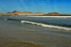 Famara beach, Lanzarote, Canary Islands, Spain Royalty Free Stock Photography