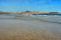 Famara beach, Lanzarote, Canary Islands, Spain Royalty Free Stock Images