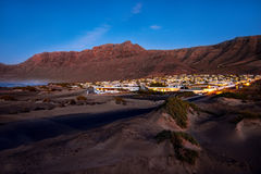 Famara city in the evening on Lanzarote island Royalty Free Stock Image