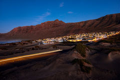 Famara city in the evening on Lanzarote island Stock Photo
