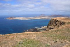 Famara cliffs and the island La Graciosa. North Lanzarote, Canary Islands, Spain. Stock Photo