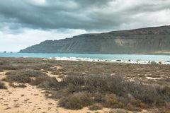 Famara cliffs in Lanzarote from Isla Graciosa, Canary Islands, S Royalty Free Stock Photos