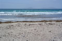 Famara plaża, Lanzarote, canarias wyspa Zdjęcia Stock