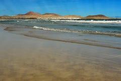 Famara Strand, Lanzarote, Kanarische Inseln, Spanien Stockfotografie