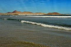 Famara Strand, Lanzarote, Kanarische Inseln, Spanien Lizenzfreie Stockfotografie