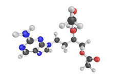 Famciclovir is a guanosine analogue antiviral drug used for the Royalty Free Stock Photos