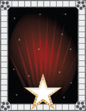 Fame Background. A border or frame featuring a golden star , film strips and film reels Stock Photo