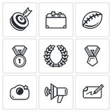 Fame and glory icons set. Vector Illustration. Royalty Free Stock Photo