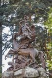 The fame over pegasus. Sculpture that represents the fame riding on pegasus stock images