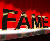 Fame Word On Stage Meaning Celebrity Recognition And Being Famou Stock Photography
