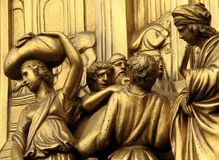 The Famed Golden Gates of Paradise in Florence, Italy. The Florence Baptistery Italian: Battistero di San Giovanni, also known as the Baptistery of Saint John Royalty Free Stock Photos