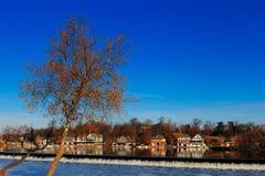 The famed Philadelphia's boathouse row in Fairmount Dam Fishway Royalty Free Stock Image