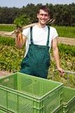 Famer orgánico que sonríe en campo Foto de archivo libre de regalías